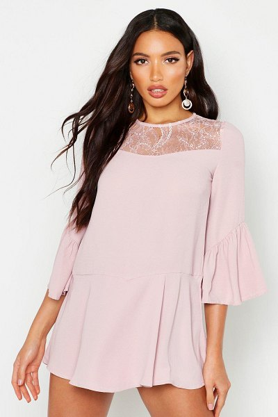 Boohoo Lace Panel Flare Sleeve romper in pink
