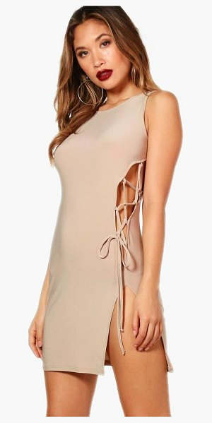 Boohoo Lace Up Detail Bodycon Dress in stone - Dresses are the most-wanted wardrobe item for...