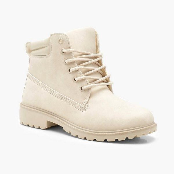 Boohoo Lace Up Hiker Boots in beige