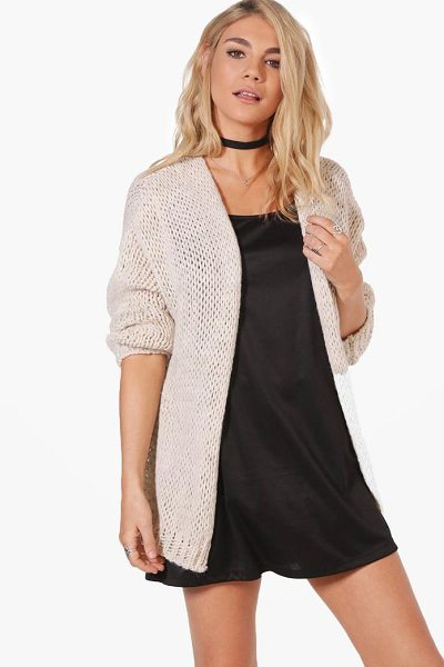Boohoo Lacey Chunky Knit Cardigan in beige - Nail new season knitwear in the jumpers and cardigans...