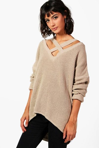 Boohoo Oversized Strap Neck Sweater in stone