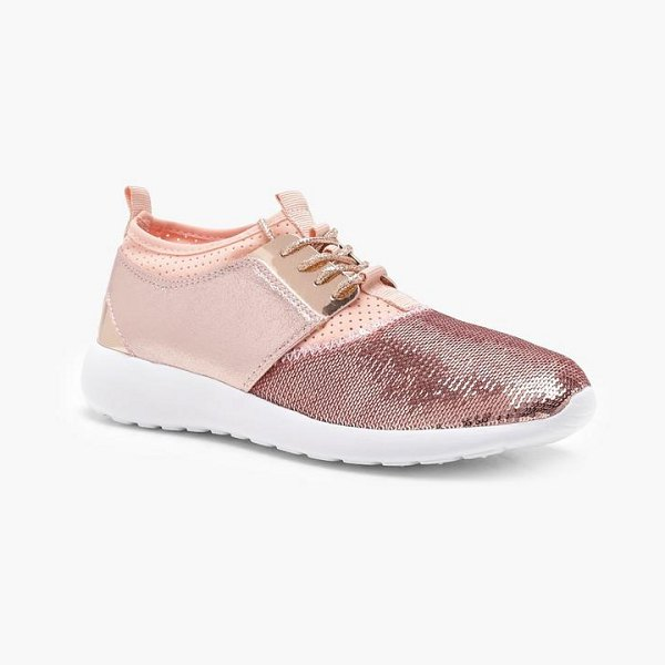 BOOHOO Sequin Lace Up Trainers in nude - We'll make sure your shoes keep you one stylish step...