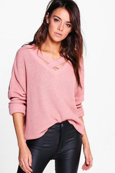 Boohoo Lacey Strap Detail Fisherman Jumper in nude - Nail new season knitwear in the jumpers and cardigans...