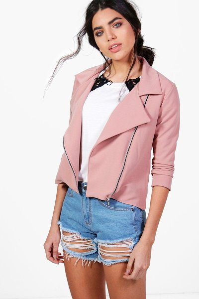 Boohoo Lana Biker Jacket in camel - Wrap up in the latest coats and jackets and get...