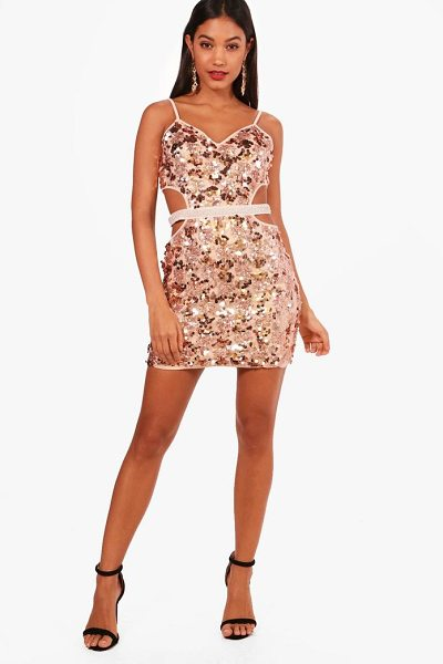 Boohoo Strappy Sequin Bodycon Dress in rose - Dresses are the most-wanted wardrobe item for...
