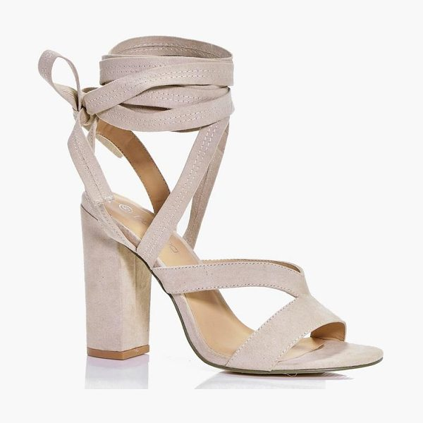 Boohoo Block Heel Wrap Strap Heels in nude - We'll make sure your shoes keep you one stylish step...