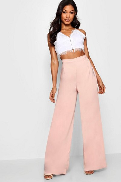 Boohoo Latoya Woven High Waisted Slim Fit Pants in blush - Trousers are a more sophisticated alternative to...