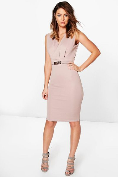 Boohoo Belted Tailored Dress in taupe - Dresses are the most-wanted wardrobe item for...