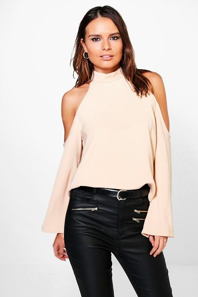 Boohoo Cold Shoulder Flute Sleeve Turtle Neck Top in nude - Steal the style top spot in a statement separate from...