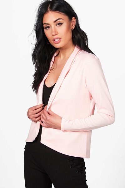 Boohoo Laura Elongated Lapel Ponte Blazer in nude - Wrap up in the latest coats and jackets and get...