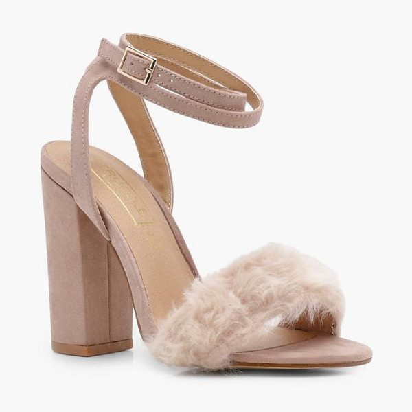 Boohoo Laura Fur Detail Two Part Heel in mink - We'll make sure your shoes keep you one stylish step...