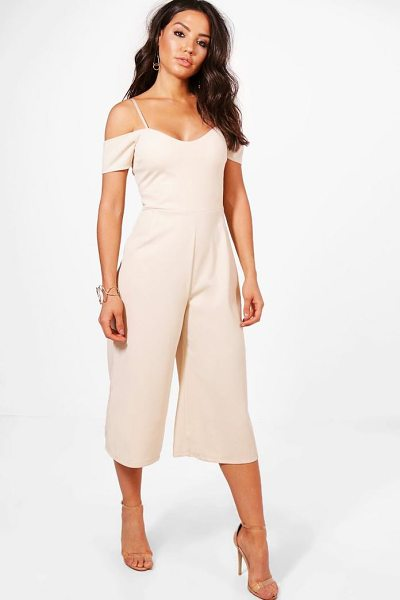 Boohoo Off The Shoulder Culotte Jumpsuit in stone