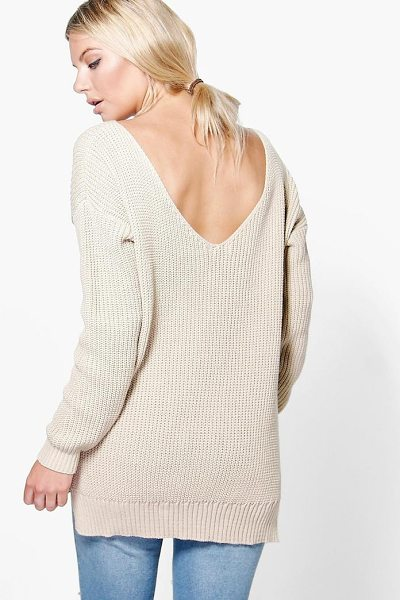 Boohoo Laura V Back Oversized Jumper in stone - Nail new season knitwear in the jumpers and cardigans...