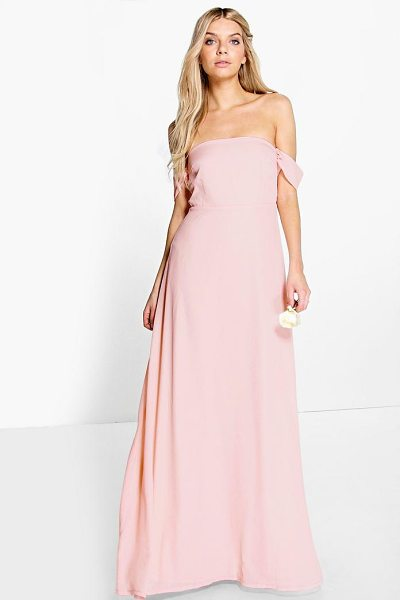 Boohoo Lauren Chiffon Off The Shoulder Maxi Dress in blush - Dresses are the most-wanted wardrobe item for...