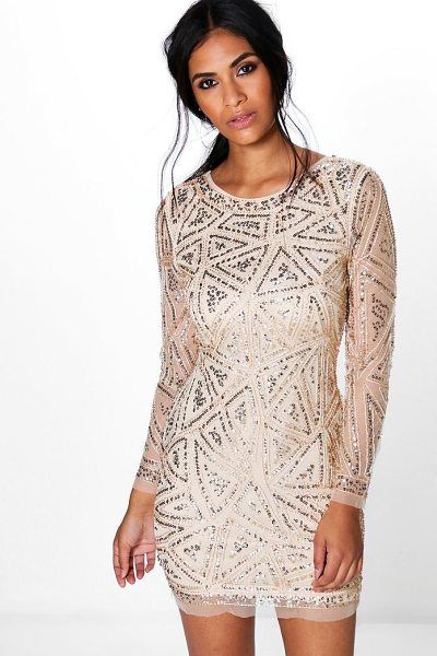 Boohoo Lauren Sequin Long Sleeved Bodycon Dress in camel - Dresses are the most-wanted wardrobe item for...