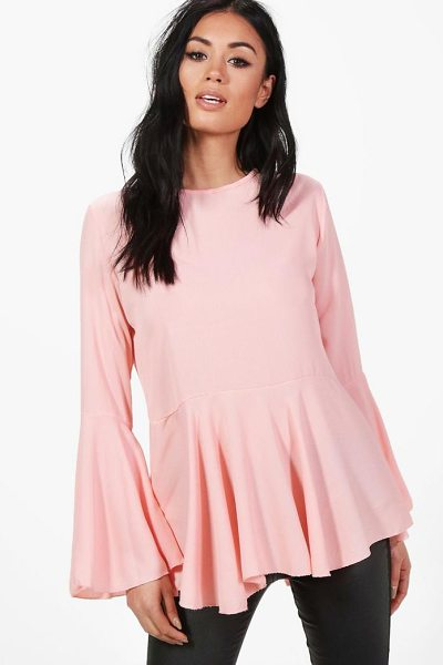 Boohoo Lauren Wide Sleeve Blouse in blush - From day-to-night, season-to-season the shirt is the...