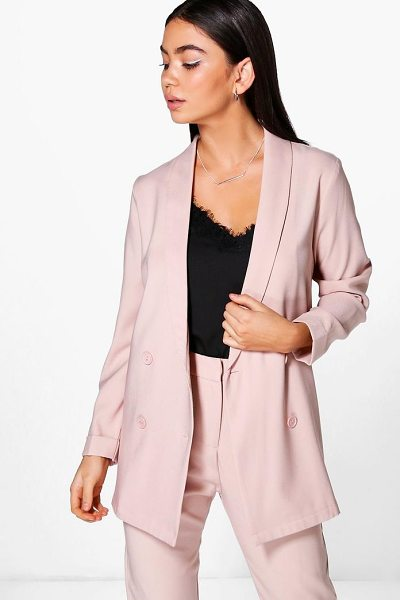 BOOHOO Layla Boutique Double Breasted Structured Blazer - Wrap up in the latest coats and jackets and get...