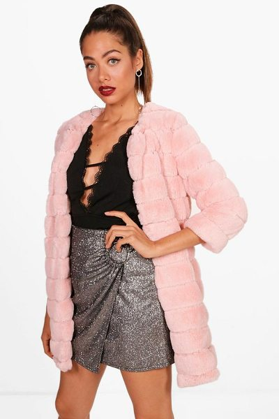 Boohoo Layla Faux Fur Coat in pink - Wrap up in the latest coats and jackets and get...