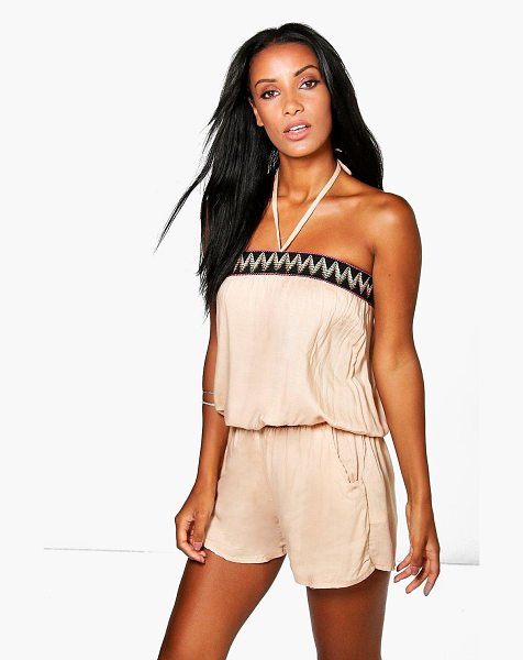 Boohoo Layla Halter Neck Aztec Playsuit in stone - Jumpsuits are your day-to-night dress alternativeYour...