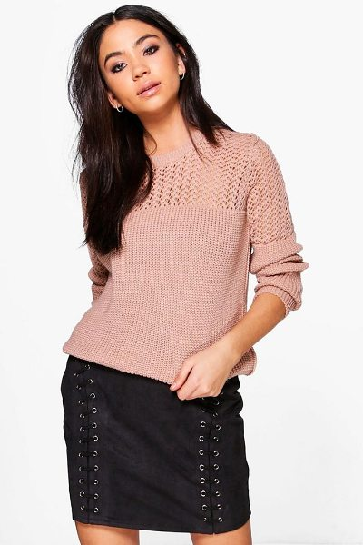 Boohoo Open Knit Crew Neck Jumper in nude - Nail new season knitwear in the jumpers and cardigans...