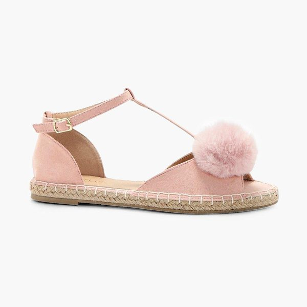 Boohoo Layla Pom Trim Peeptoe Espadrille in pink - We'll make sure your shoes keep you one stylish step...