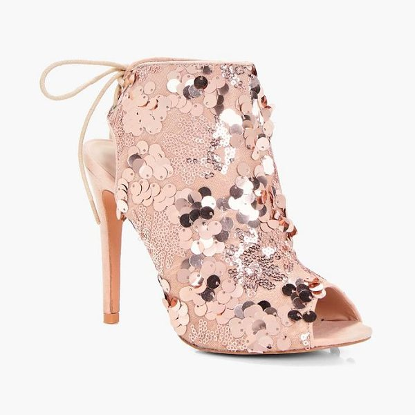 Boohoo Layla Sequin Detailed Peeptoe Shoe Boot in blush - We'll make sure your shoes keep you one stylish step...