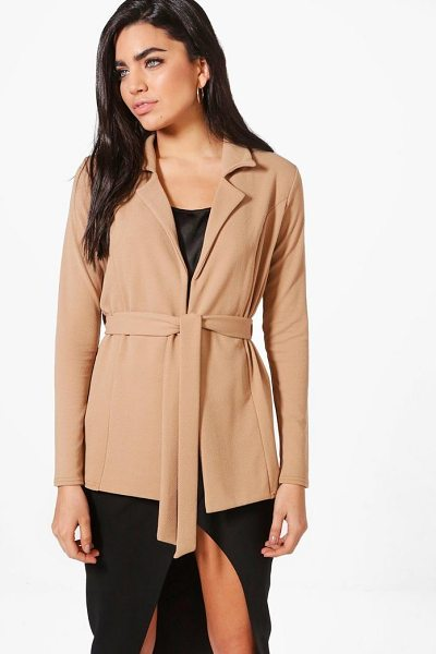 Boohoo Belted Blazer in camel - Wrap up in the latest coats and jackets and get...