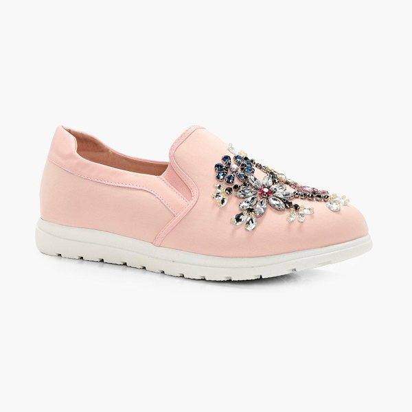 Boohoo Leah Embellished Slip On Trainers in blush - We'll make sure your shoes keep you one stylish step...