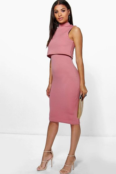Boohoo High Neck Double Layer Midi Dress in rose - Dresses are the most-wanted wardrobe item for...