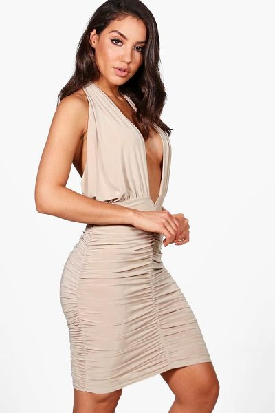Boohoo Leanne Slinky Twist Ruched Bodycon Dress in stone - Dresses are the most-wanted wardrobe item for...