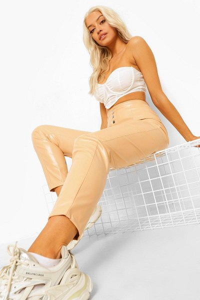 Boohoo Leather Look Popper Fastening Skinny Pants in nude