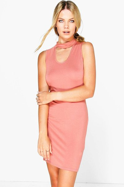 Boohoo Leila Choker Bodycon Dress in antique rose