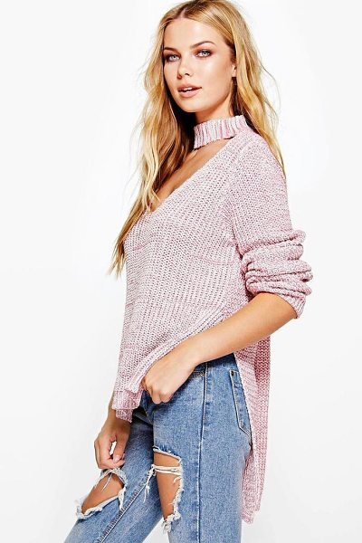 BOOHOO Lena Choker V Neck Marl Oversized Jumper - Nail new season knitwear in the jumpers and cardigans...