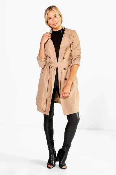 BOOHOO Lexi Belted Collarless Mac - Wrap up in the latest coats and jackets and get...