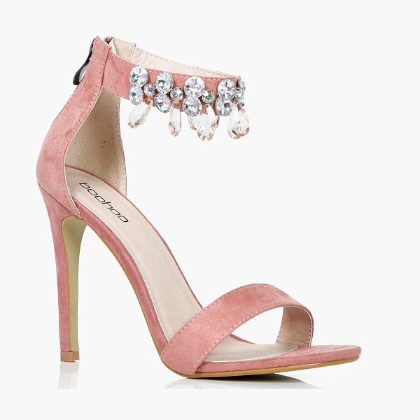 Boohoo Lexi Embellished Ankle Band 2 Part Heels in blush