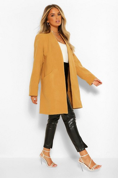 Boohoo Lightweight Wool Look Coat in camel