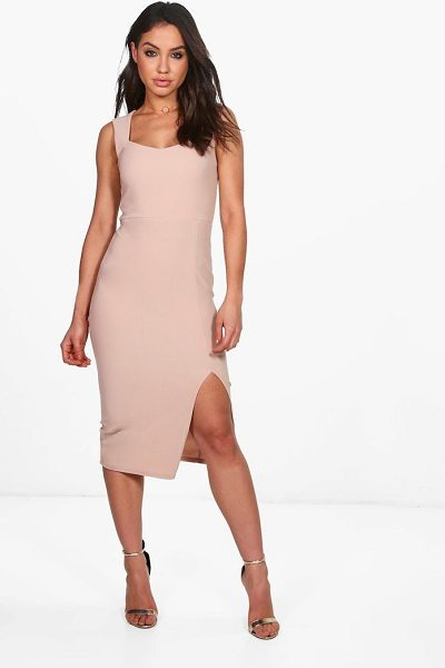 Boohoo Strappy Fitted Rib Midi Dress in stone - Dresses are the most-wanted wardrobe item for...