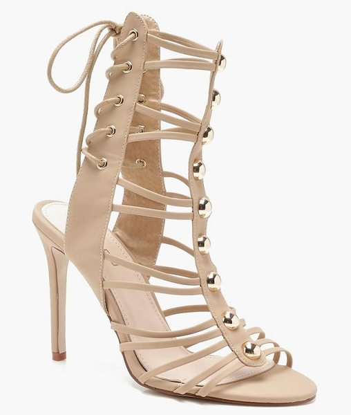 Boohoo Cage Lace Up Back Gladiator Heels in nude - We'll make sure your shoes keep you one stylish step...