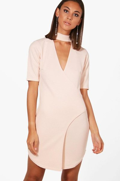 Boohoo Choker Ribbed Wrap Bodycon Dress in nude - Dresses are the most-wanted wardrobe item for...