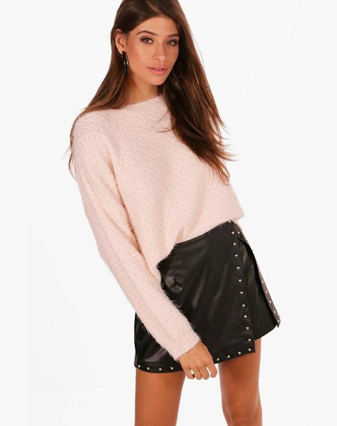 Boohoo Lily Crop Eyelash Jumper in blush - Sweaters are a key piece for your casual wardrobe. Think...