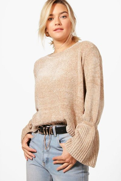 Boohoo Lily Flare Sleeve Chenille Jumper in beige - Nail new season knitwear in the jumpers and cardigans...