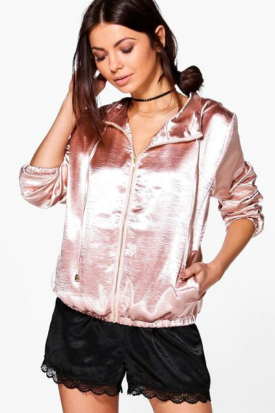 Boohoo Lily Hooded Satin Bomber in nude - Wrap up in the latest coats and jackets and get...