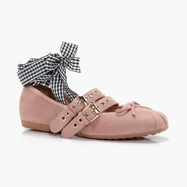 Boohoo Lily Ribbon Lace Up Ballet in blush - We'll make sure your shoes keep you one stylish step...
