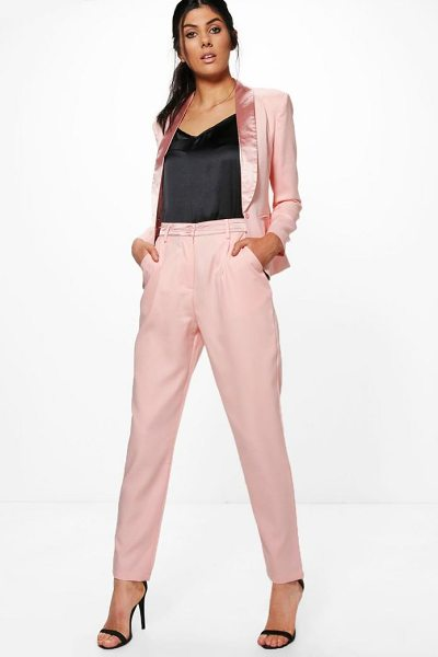 Boohoo Tailored Tuxedo Waistband Trousers in rose