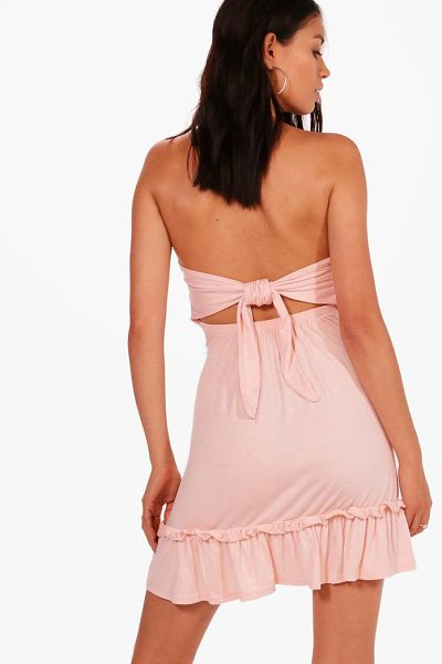 Boohoo Lily Tie Back Drop Hem Off Shoulder Swing Dress in nude