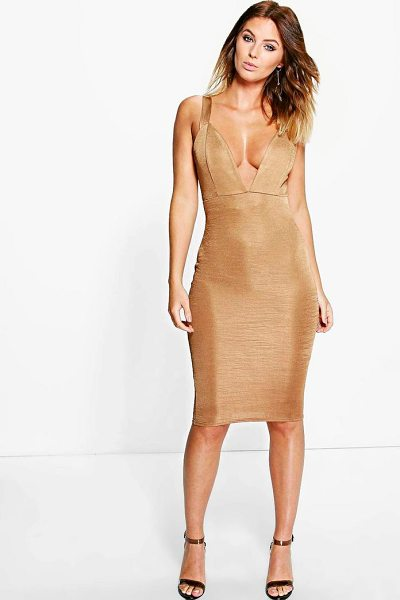 Boohoo Lindsey Ribbed Plunge Neck Midi Dress in bronze