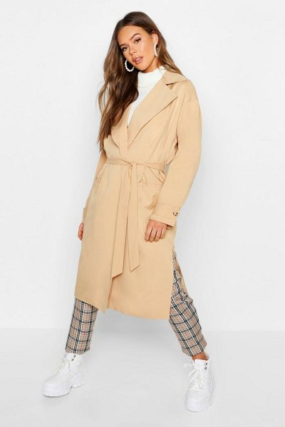 Boohoo Lined Belted Trench Coat in stone