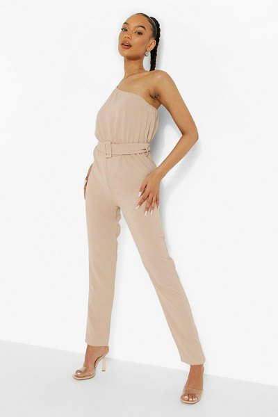 Boohoo Linen Belted One Sleeve Jumpsuit in stone