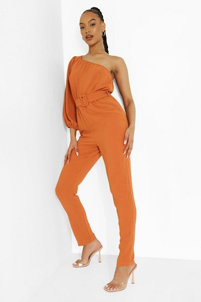 Boohoo Linen Belted One Sleeve Jumpsuit in coral