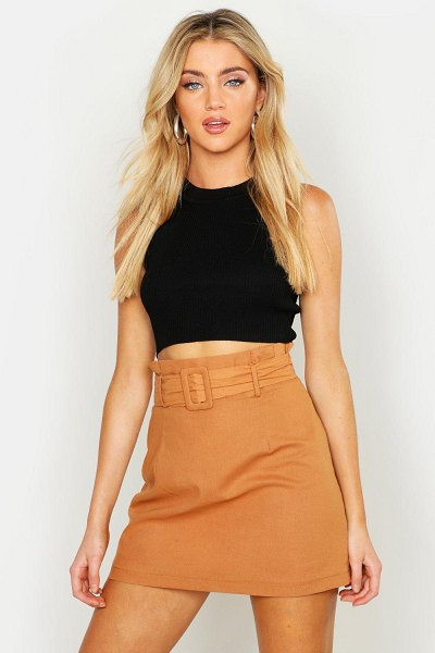 Boohoo Linen Mix Paper Bag Belted Mini Skirt in tobacco